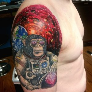 Space monkey tattoo
