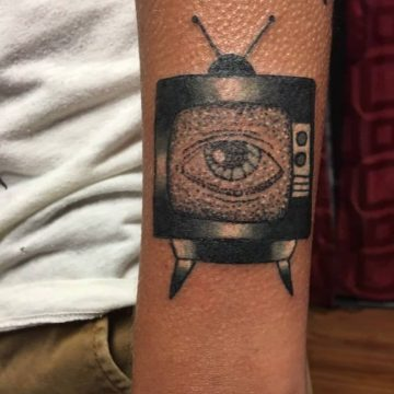 tv eye watching tattoo by Debbie