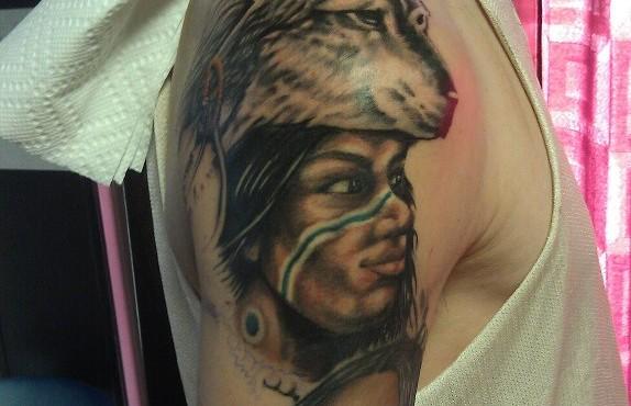 Native American Half Sleeve Tattoo In Progress Headless